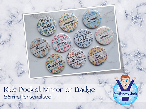 Personalised Pocket Mirror or Badge