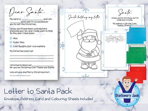 Letter to Santa - Blue Snowflakes