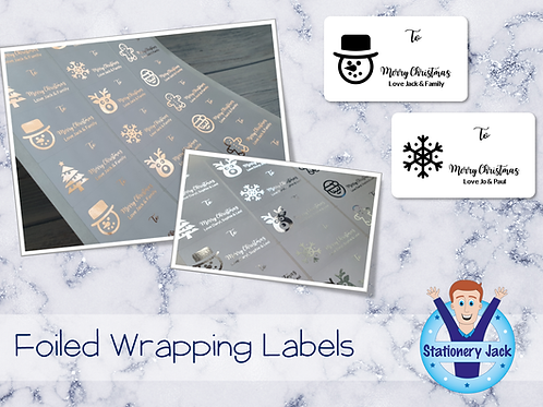 Foiled Christmas Wrapping Labels