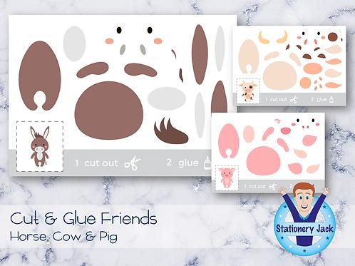 Cut & Glue - Horse, Cow & Pig