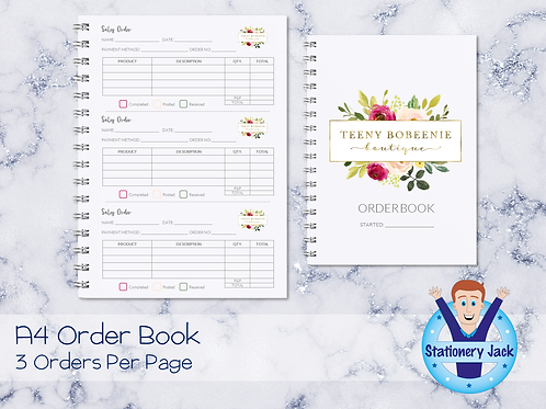 A4 Order Book - 3 Orders Per Page