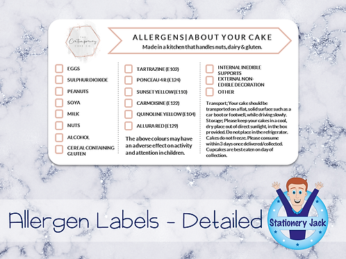 Allergen Stickers - Detailed