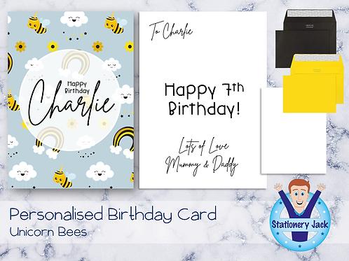 Birthday Card - Unicorn Bees