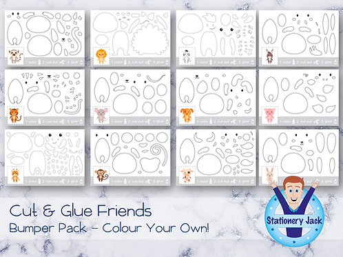 Cut & Glue Bumper Pack - Colour Your Own