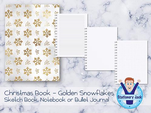 Christmas Book - Golden Snowflakes