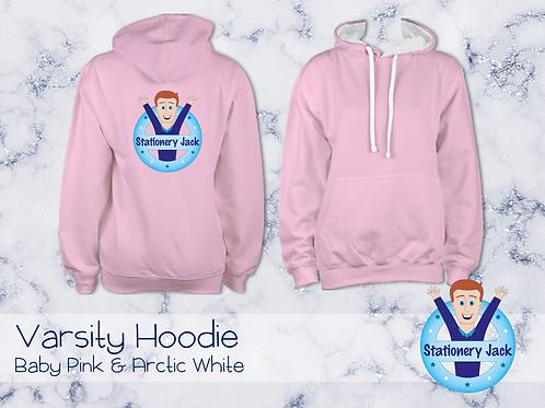 Varsity Hoodie - Baby Pink & Arctic White