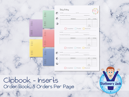 A5 Inserts - Order Book, 3 Per Page