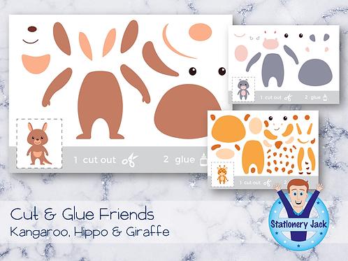 Cut & Glue - Kangaroo, Hippo & Giraffe