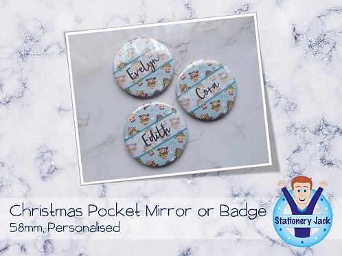 Christmas Personalised Pocket Mirror or Badge