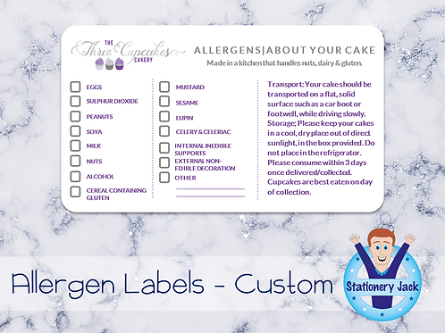 Allergen Stickers - Custom