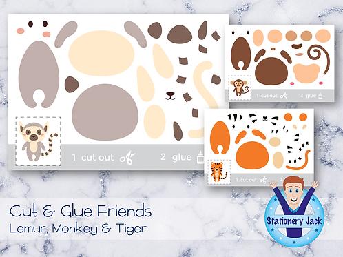 Cut & Glue - Lemur, Monkey & Tiger