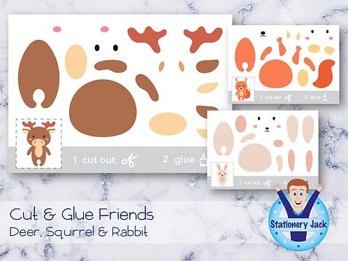 Cut & Glue - Deer, Squirrel & Rabbit