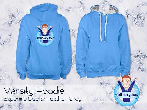 Varsity Hoodie - Sapphire Blue & Heather Grey