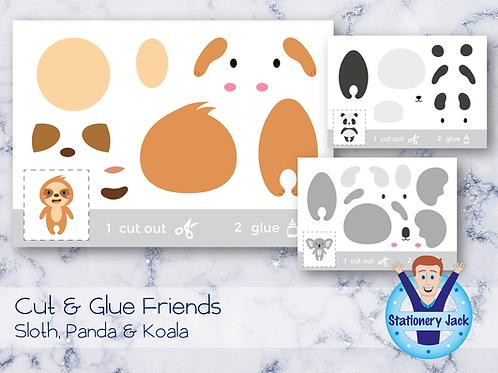 Cut & Glue - Sloth, Panda & Koala