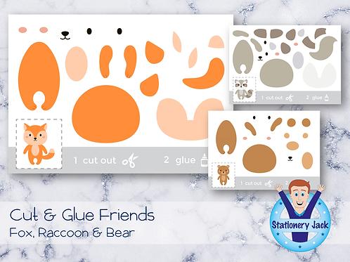 Cut & Glue - Fox, Raccoon & Bear