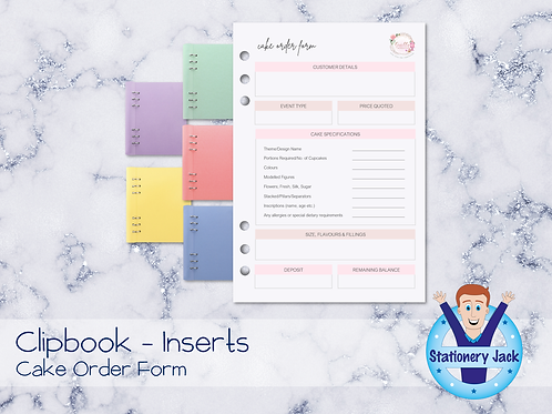 A5 Inserts - Cake Order Form