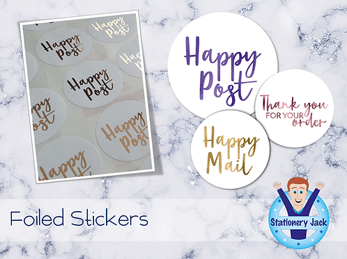 Foiled Happy Post Stickers