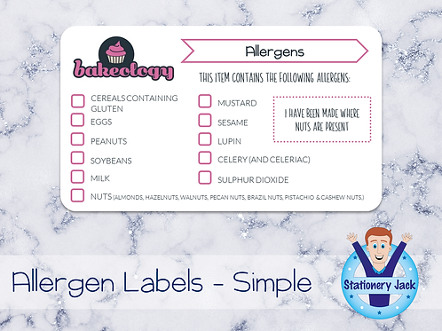 Allergen Stickers - Simple