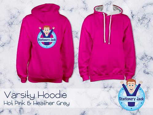 Varsity Hoodie - Hot Pink & Heather Grey