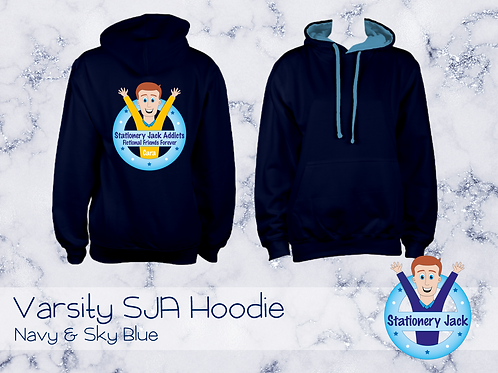 Varsity SJA Hoodie - French Navy & Sky Blue