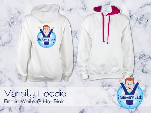 Varsity Hoodie - Arctic White & Hot Pink