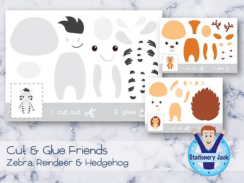 Cut & Glue - Zebra, Reindeer & Hedgehog