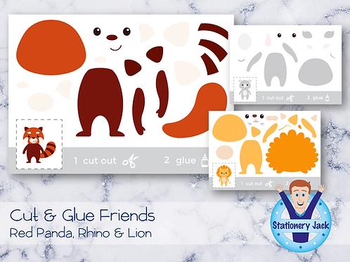 Cut & Glue - Red Panda, Rhino & Lion