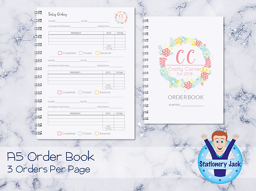 A5 Order Book - 3 Orders Per Page