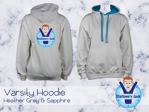 Varsity Hoodie - Heather Grey & Sapphire