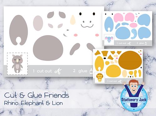 Cut & Glue - Rhino, Elephant & Lion