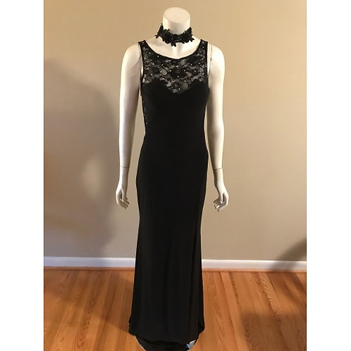 Xscape  Black Long Gown with Sequinn Back