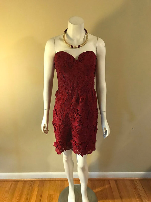 AS U Wish Strapless Floral Texture Short Cocktail Burgundy