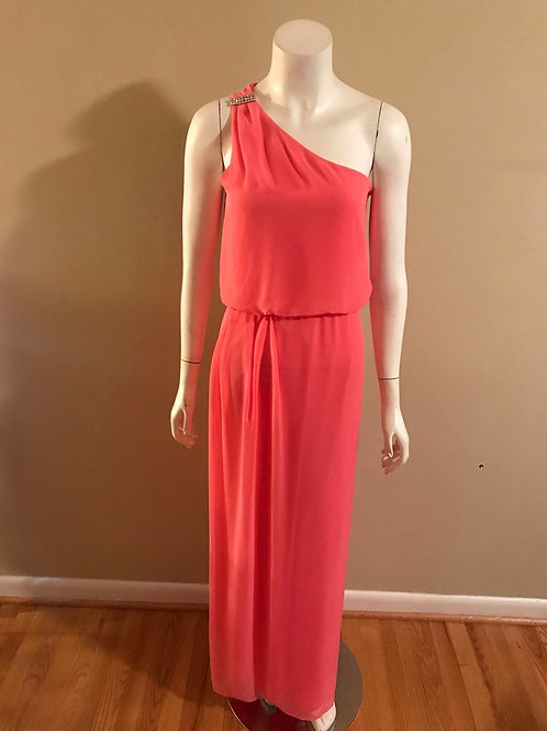 Adrianna Papell Rhinestone Strap Long One Strap Pink Formal Gown