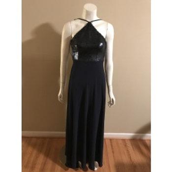 Lulus Long Navy Blue Halter Sequin Top Gown
