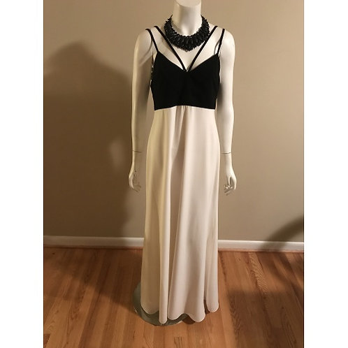Jill Stuart Long Black and Cream Halter Evening Gown