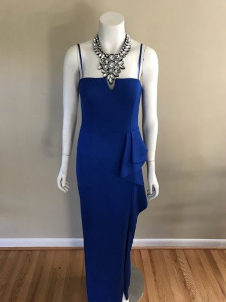 Adrianna Papell Long Royal Blue Spaghetti Strap Evening Gown