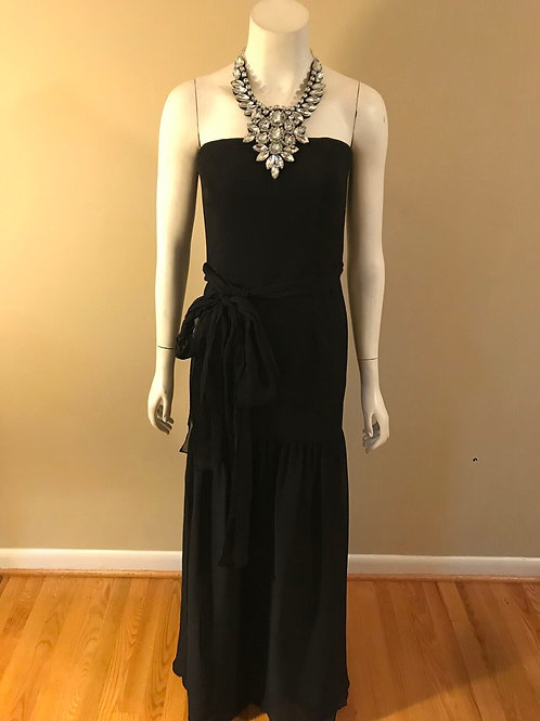 Vera Wang White Black Strapless Evening Gown