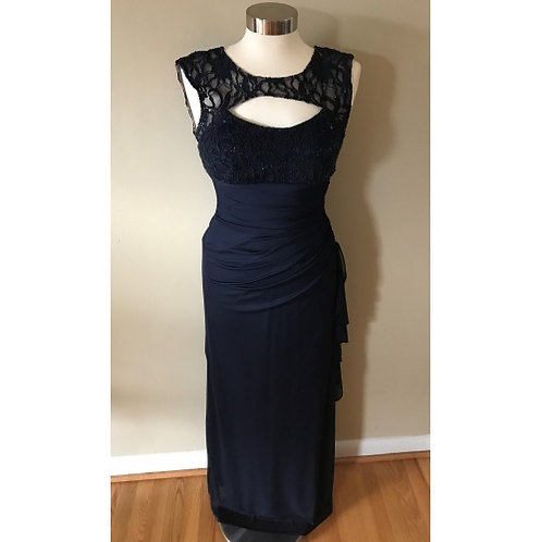 Besty & Adam Navy Blue Long Formal Gown Back Cut Out