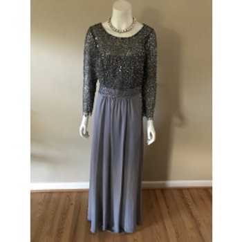 Decode 1.A Long Gray Gown with Sequin Top