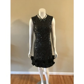 Maia Short Black Sequin Dress with Frilly Bottom