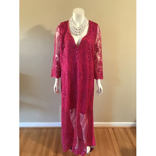Diva Rentals Original Long Fuchsia Lace Sleeves Gown