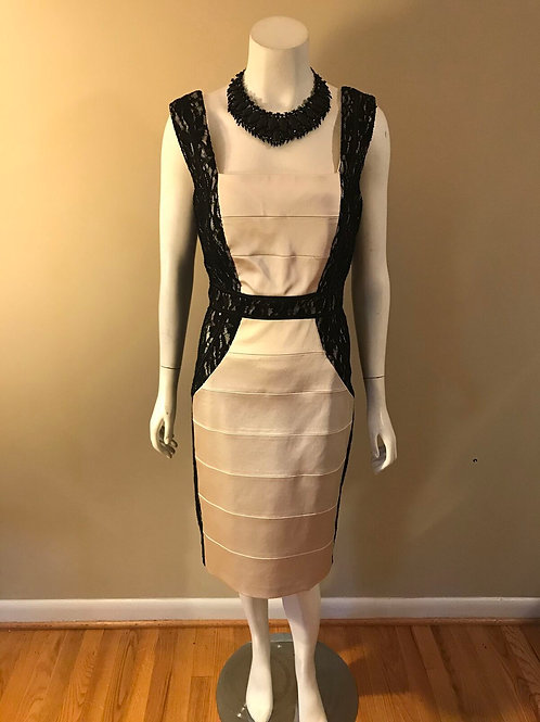 Jax Short Cream and Black Lace Back Dress