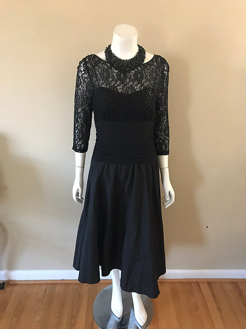 Jessica Howard Black Cocktail Dress with Lace Upper