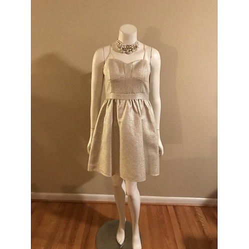 Aidan Cream Shimmering Strapless Cocktail Dress