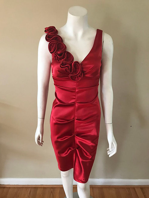 Xscape Red Satin Cocktail Dress