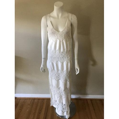 ASTR Long Cream Linen Dress Criss Cross Back