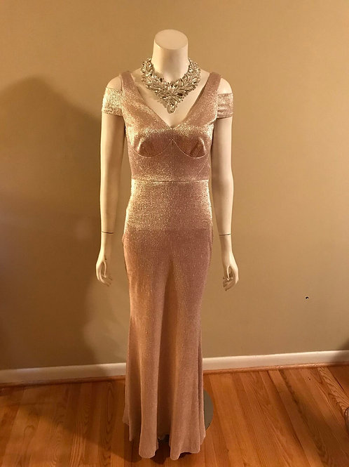 Calvin Klein Pink Metallic Long Gown