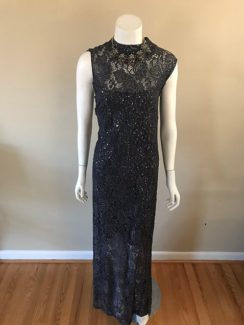 Marina Grey Sequin Long Gown