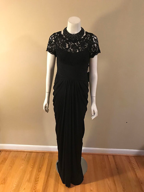 Adrianna Papell Long Black Gown with Lace Top