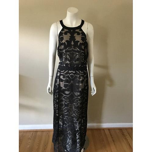City Chic Long Black and Cream Halter Back Dress